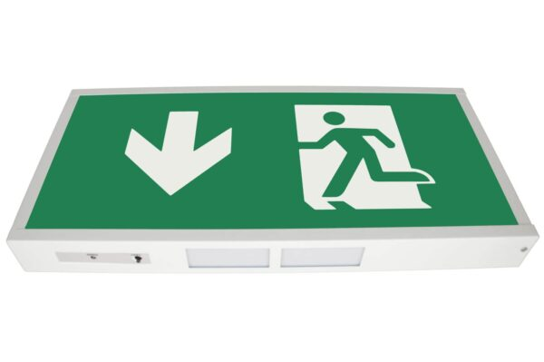 senso exit 0303 notausgangsbeleuchtung led ip40 piktogramm runter
