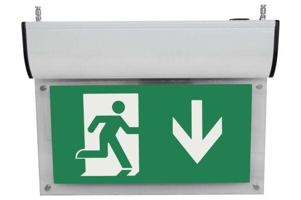 senso exit premium weiss notausgangsbeleuchtung ip40 piktogramm runter